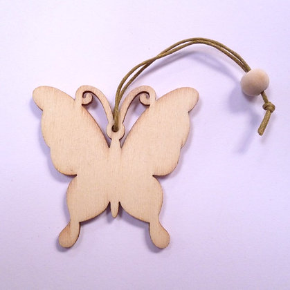 SALE :: Wooden Hanging Decoration :: Butterfly & Bead