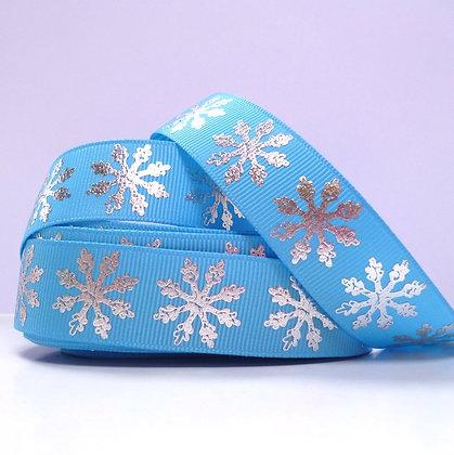 Foiled Grosgrain Ribbon :: Snowflake Blue
