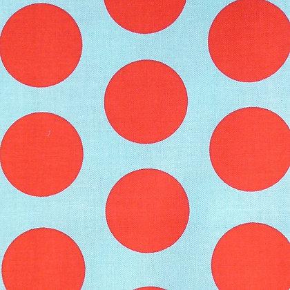 Fabric :: Large Dot :: Aqua & Red