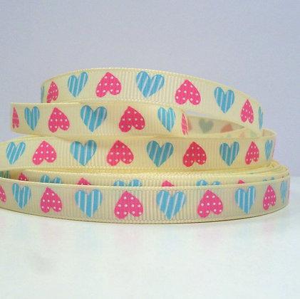 Cream Grosgrain + Pink & Blue Hearts