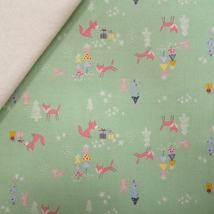 Fabric Felt :: A Winter Tale :: Foxes Green on Natural