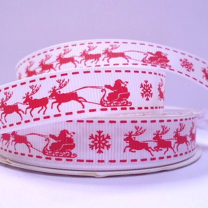 Christmas Grosgrain Ribbon :: Santa and his sleigh