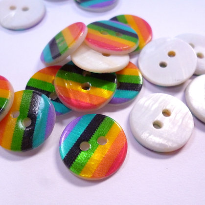 Rainbow Stripe Pearl Button