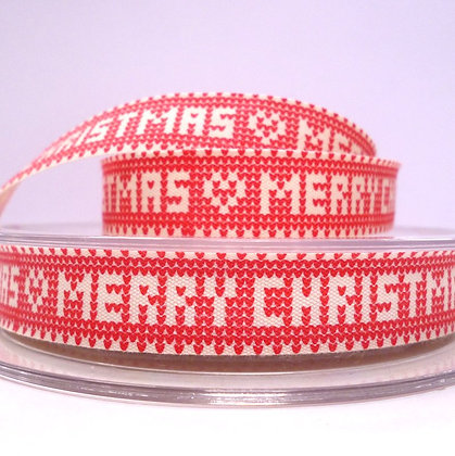 2017 Cotton Christmas Ribbon :: 'Knitted' Merry Christmas