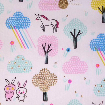Fabric :: Wide Pastel Metallics :: Unicorn Forest