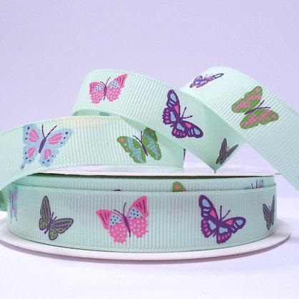 Pattern Grosgrain Ribbon :: RC Butterflies on Mint