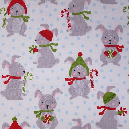 SALE Fabric :: Frosty Friends :: Candy Cane Bunnies