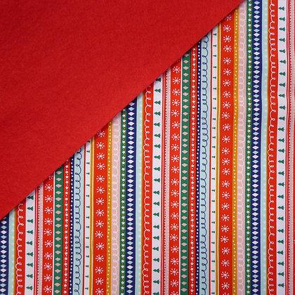 Fabric Felt :: Festive Friends Multi Striipe on Red LAST FEW