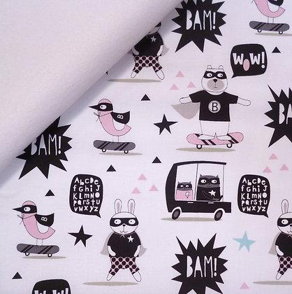 Fabric Felt :: Little Super Hero :: Animal Bam on White