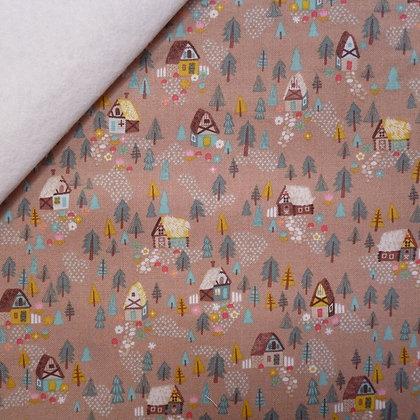 Fabric Felt :: Goldilocks :: Brown Forest Houses on Natural