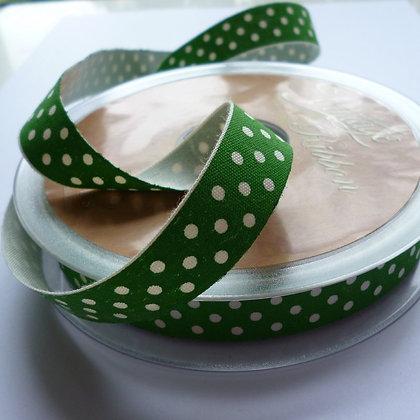 Cotton Christmas Ribbon :: Natural Dot on Green