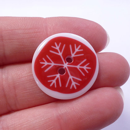 Christmas Button :: Red Snowflake