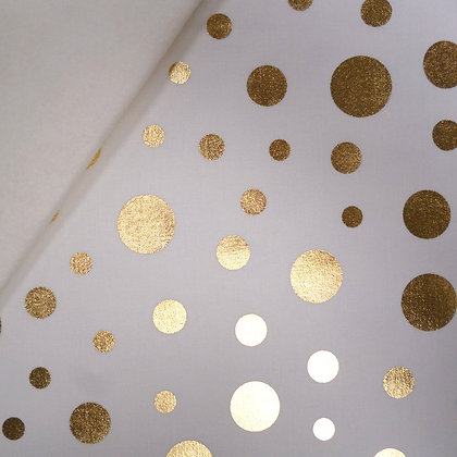Fabric Felt :: Razzmatazz :: Gold Dots on Natural LAST FEW
