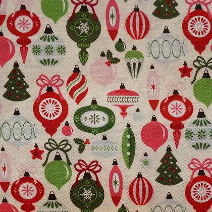 SALE Fabric :: Merry/Bright :: Cream Bauble