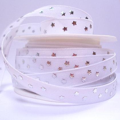 Cotton & Stars Ribbon :: White + Silver Stars