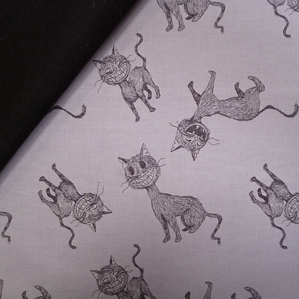 Fabric Felt :: Scaredy Cat :: Grey + Cats on Black