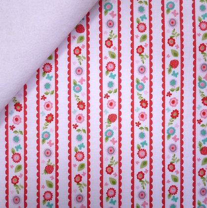 Fabric Felt :: Butterflies & Berries :: Strawberry Stripe on White