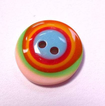 Rainbow Stripe Button :: Large Round Domed