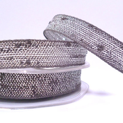 Woven Metallic Ribbon :: Grey & Silver