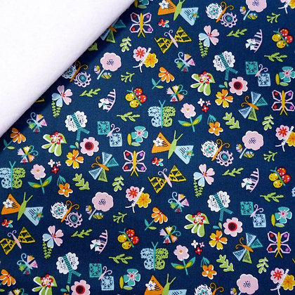 Fabric Felt :: Club Tropicana :: Navy Flowers on White