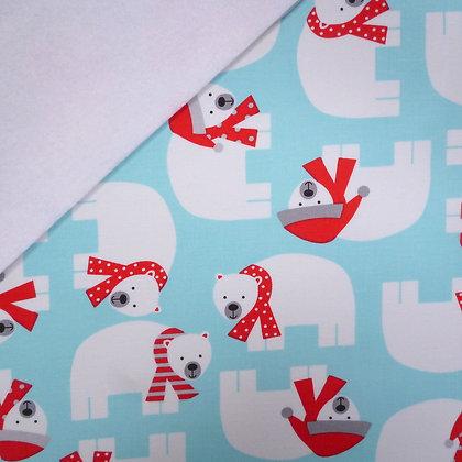 Fabric Felt :: Jingle Polar Bears on White LAST FEW
