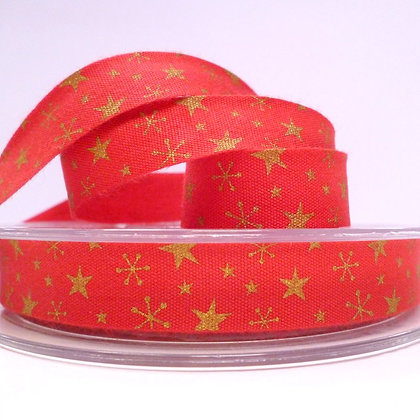 2017 Cotton Christmas Ribbon :: Gold Stars on Red