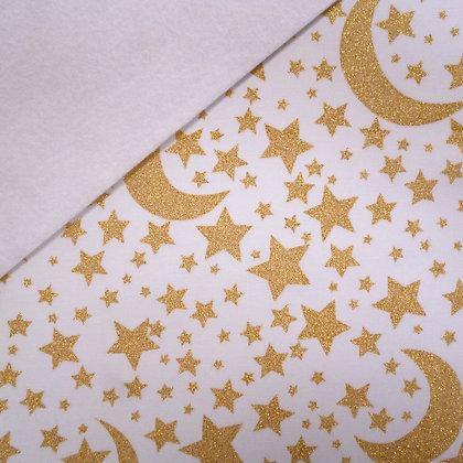 Fabric Felt :: Metallic Moon & Stars on White