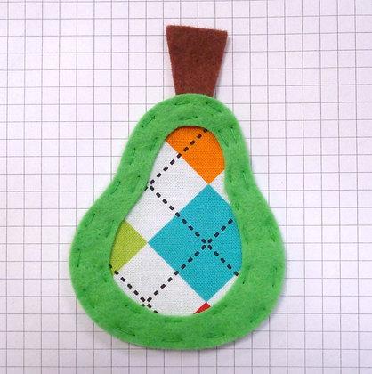 Argyle :: Pear :: Handmade Embellishment