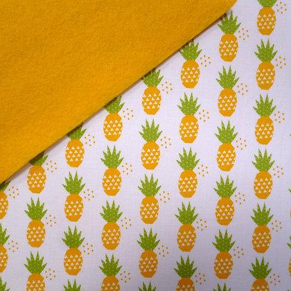 Fabric Felt :: Fresh Market Pineapples on Yellow