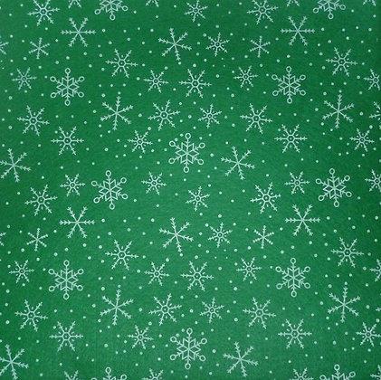Snowflake Printed Felt Square :: Green