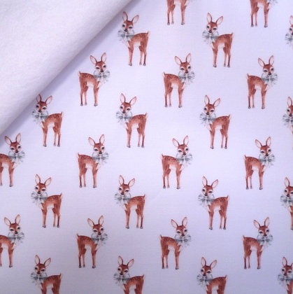 Artisan Fabric Felt :: Fawns with Bows on White
