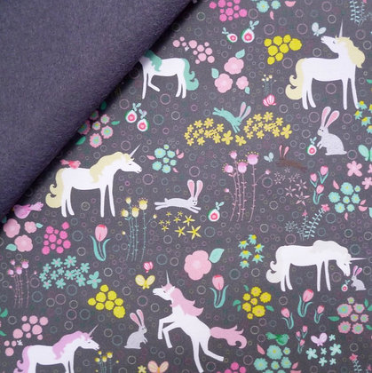 Artisan Fabric Felt :: Unicorn Forest on Charcoal