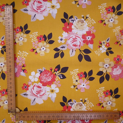 Fabric :: Vintage Daydreams :: Large Floral Mustard