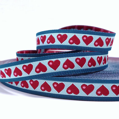 Embroidered Ribbon :: Red & Aqua Hearts