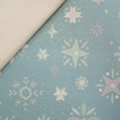 Fabric Felt :: Way Up North :: Snowflakes Mint on Natural
