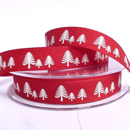 Nordic Christmas Ribbon :: Trees on Red