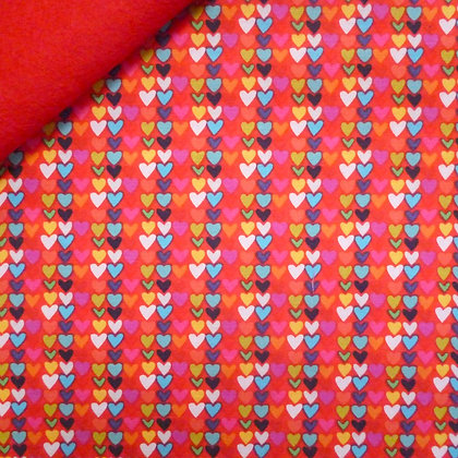 Fabric Felt :: Happy! :: Little Hearts Red on Red