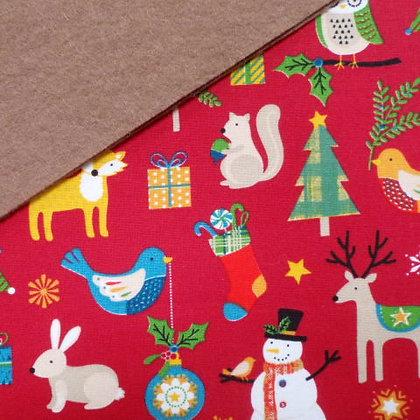 Fabric Felt :: Wide Christmas Red on Teddy Bear