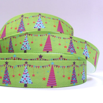Christmas Grosgrain Ribbon :: Trees on Green
