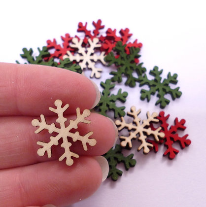 Wooden Snowflakes SMALL Christmas Colours