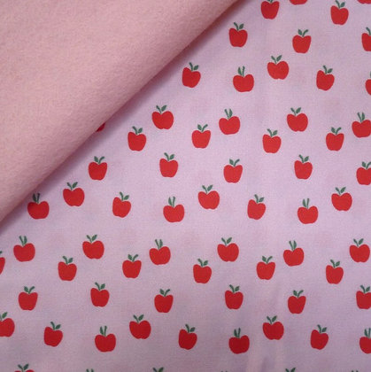Artisan Fabric Felt :: Little Red Apples on Blush