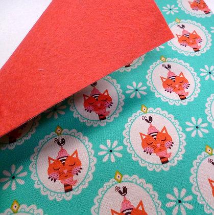 Fabric Felt :: V.K. Teal Cat & Coral