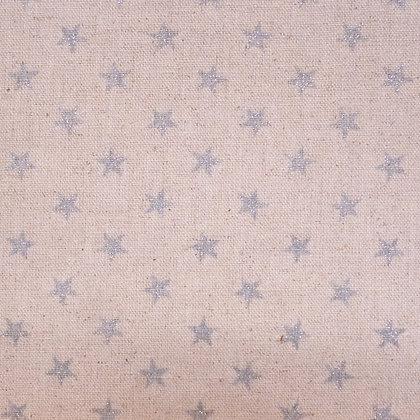 Fabric :: Cotton Linen :: Silver Glitter Stars