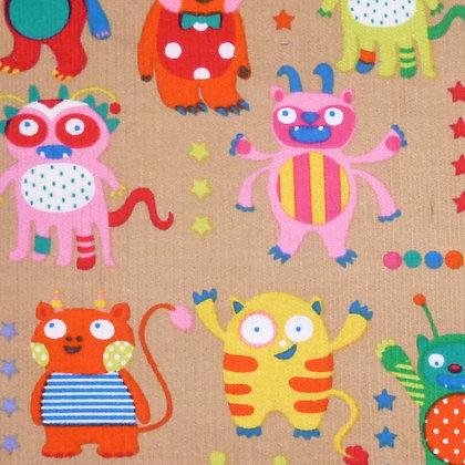 Fabric :: Corduroy :: Monsters On Beige