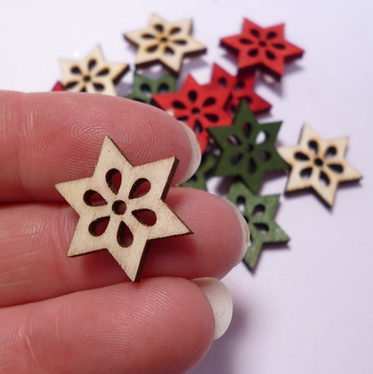 Wooden Stars SMALL Christmas Colours