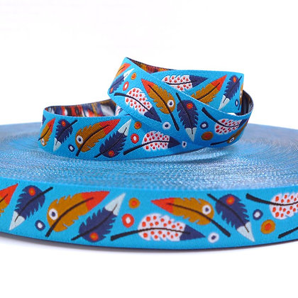 Embroidered Ribbon :: Blue Feathers