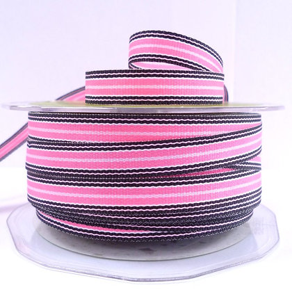 "3/8"" Stripe Ribbon :: Neon Pink & Black"