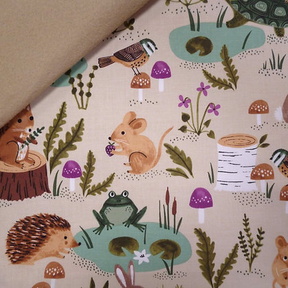Fabric Felt :: Woodland Wander :: Woodland Friends on Beige LAST FEW