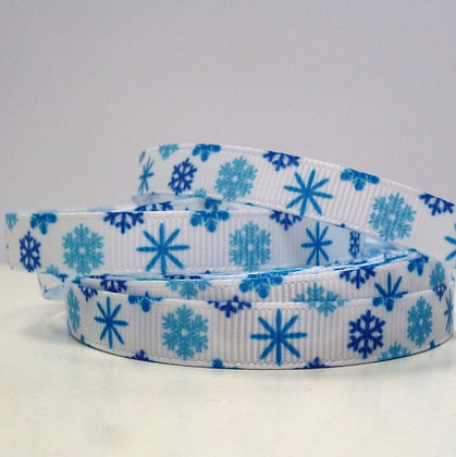 Narrow Christmas Grosgrain Ribbon :: Blue Snowflakes