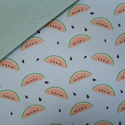 Fabric Felt :: Mint Tropical Watermelon on Pale Mint